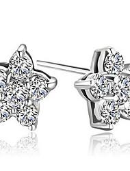 Graciosa prata com flor de cristal em forma de alergia Brincos Grátis (mais cores)