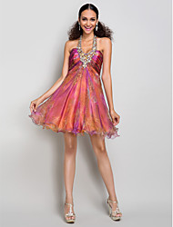 Cocktail Party / Homecoming / Prom / Sweet 16 Dress A-line Halter / Sweetheart Short / Mini Organza / Taffeta withBeading / Crystal