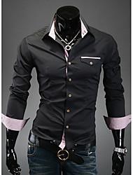 Черный Повседневная RR Покупать мужские Slim Fit Контрастность Цвет Проверить Сращивание с длинным рукавом