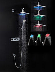 Contemporary Shower System LED Rain Shower Handshower Included with  Ceramic Valve Three Handles Three Holes for  Chrome , Shower Faucet