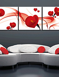 Stretched Canvas Art Floral Romance Red Petal Set of 3