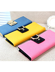 Fashion Contrast Color Rivet Long Wallet