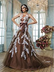 Vestido de Boda - Chocolate (el Color y Estilo pueden variar según su monitor) Corte Sirena Tribunal - Joya Tul Tallas Grandes