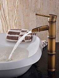 Personalized Bathroom Sink Faucet Antique Brass Finish-Bamboo Shape Design