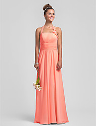 Floor-length Chiffon Bridesmaid Dress - Watermelon / Royal Blue / Ruby / Champagne / Grape Plus Sizes / Petite Sheath/Column Halter