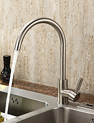 Single Handle Brass Kitchen Faucet—Nickle Brushed Finish
