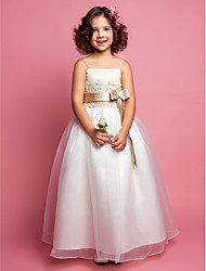A-line Princess Floor-length Flower Girl Dress - Organza Satin Spaghetti Straps with Appliques Beading Bow(s) Sash / Ribbon