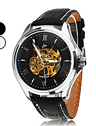 Men's Silver Dial PU Analog Auto-Mechanical Wrist Watch with Roman Numbers (Assorted Colors)
