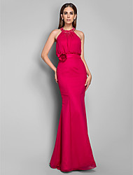 Prom Formal Evening Military Ball Dress - Open Back Trumpet / Mermaid High Neck Floor-length Chiffon with Beading Flower(s)