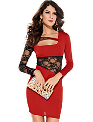 Women's Lace Red Dress , Bodycon/Party/Sexy/Lace Asymmetrical Long Sleeve Lace/Hollow Out