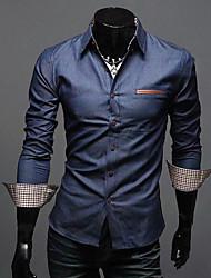 Темно-синий RR ПОКУПАТЬ человека вскользь тонкой PU Сращивание с длинным рукавом