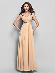 Formal Evening/Military Ball Dress - Champagne Sheath/Column V-neck Floor-length Chiffon