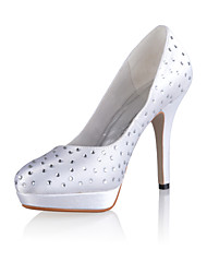 Bridal Satin Round Toe Stiletto Pumps with Rhinestone Wedding/Special Occasion Shoes(More Colors)