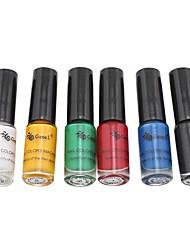 6PCS Top Coat Nail Polish for Stamping(5ml)