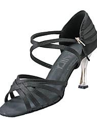 Non Customizable Women's Dance Shoes Latin Satin Stiletto Heel Black