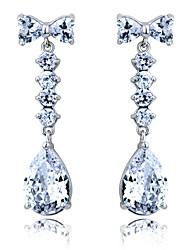 Elegant Platinum Plated Cubic Zirconia Earrings More Colors(Lengte*Width  38mm*10mm)