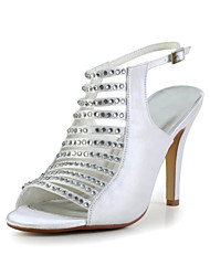 Bridal Satin Stiletto Heel Sandals with Rhinestone Wedding/Special Occasion Shoes(More Colors)