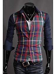 Men's Plaids Casual Shirt,Cotton Blend Long Sleeve Blue / Red