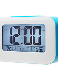 "4"" Smart Light Sensor LCD Digital Alarm Clock Calendar Thermometer (Assorted Colors,3xAAA)"