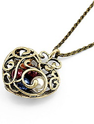 Vintage Alloy With Pearl Heart Shaped Pendant Women's Necklace