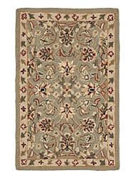 Persa de lã tapete de área adornado com motivos florais 5 '* 8'