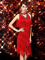 Dancer Dusche Tassel Paillette Zauberhaft V Kragen Kleid Damen-Kostüm