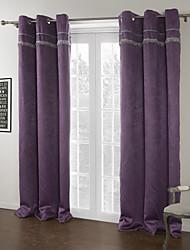 modernes deux panneaux solides pourpre salon rideaux polyester stores opaques