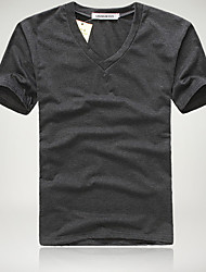 Heren Cotton Blend met V-hals Slim T-Shirt (Slim Fit)
