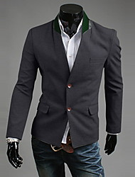 REVERIE UOMO Man's Gray Single Breast Slim Fit Stand Collar Suit