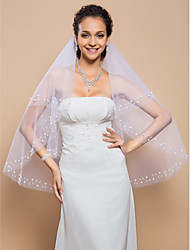 Two-tier Fingertip Wedding Veil With Beaded Edge And Pearls