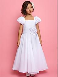 A-line/Princess Ankle-length Flower Girl Dress - Chiffon/Stretch Satin Short Sleeve