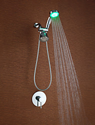 Contemporary Shower System LED / Handshower Included with  Ceramic Valve Single Handle Two Holes for  Chrome , Shower Faucet