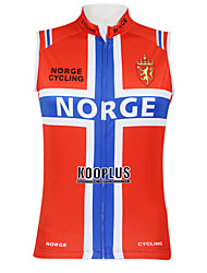 Kooplus2013 Championship Jersey Norway 100% Polyester Wicking Fibers Sleeveless Cycling Vest with Reflective Tape