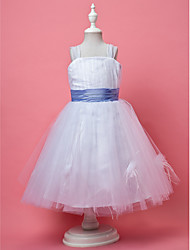 A-line / Princess Knee-length Flower Girl Dress - Tulle Sleeveless Square / Straps withDraping / Feathers / Fur / Flower(s) / Sash /