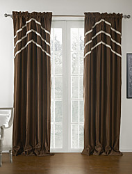 Two Panels Curtain Modern , Solid 100% Polyester Polyester Material Blackout Curtains Drapes Home Decoration For Window