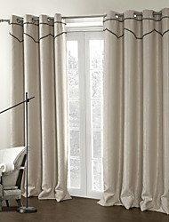 (Two Panels) Beige Modern Stripe Room Darkening Curtain