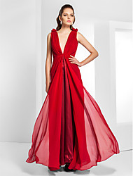 TS Couture Formal Evening Military Ball Dress - Celebrity Style Open Back Sheath / Column V-neck Floor-length Chiffon withDraping
