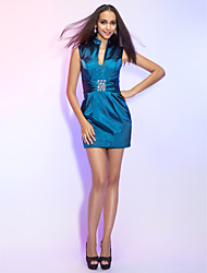 Dress - Ink Blue Plus Sizes / Petite Sheath/Column High Neck Short/Mini Stretch Satin