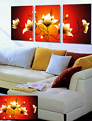 Stretched Canvas Art Floral Yellow Lotus Set of 3