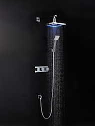 Contemporary Chrome Finish LED Wall Mount Shower Set (Showerhead + Hand Shower)