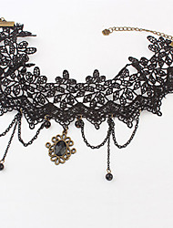 Vintage Lace With Beads Resin Women's Necklace