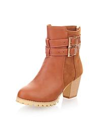 Вкус кожи Коренастый низком каблуке Ботильоны с пряжкой Повседневная обувь (больше цветов)