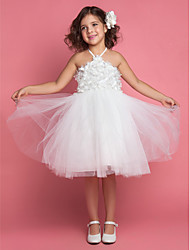 A-line / Ball Gown / Princess Tea-length Flower Girl Dress - Satin / Tulle Sleeveless Halter with Flower(s) / Sash / Ribbon
