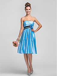 LAN TING BRIDE Knee-length Strapless Bridesmaid Dress - Floral Sleeveless Taffeta