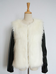 Thick Long PU Sleeve Collarless Faux Fur Party/Casual Jacket