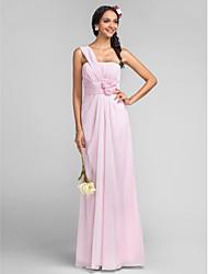 Floor-length Chiffon Bridesmaid Dress - Plus Size / Petite Sheath/Column One Shoulder
