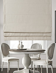 #Modern Off-white Solid Linen Roman Shade