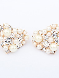 Exquisite Alloy With Pearl/Rhinestone Heart Shaped Women's Earrings