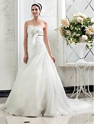 Lan Ting A-line/Princess Plus Sizes Wedding Dress - Ivory Court Train Strapless Organza