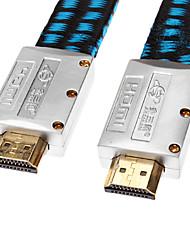 jsj® 3m hdmi v1.4 9.84ft macho a cable macho tipo plano neta chapado dorado para dvd Chromecast / blu-ray